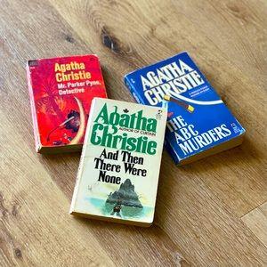 Set of 3 Vintage Agatha Christie Softcover Novels